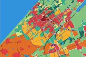 Hitte-eiland-kaart uit 'Klimaatadaptatie in de stad', Bosch Slabbers 2010.