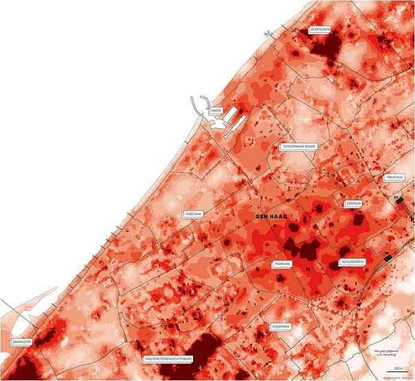 Haagse hitte-kaart zoals gepubliceerd in NRV.Next van 5-6-2015, op basis van satellietbeelden uit 2013.